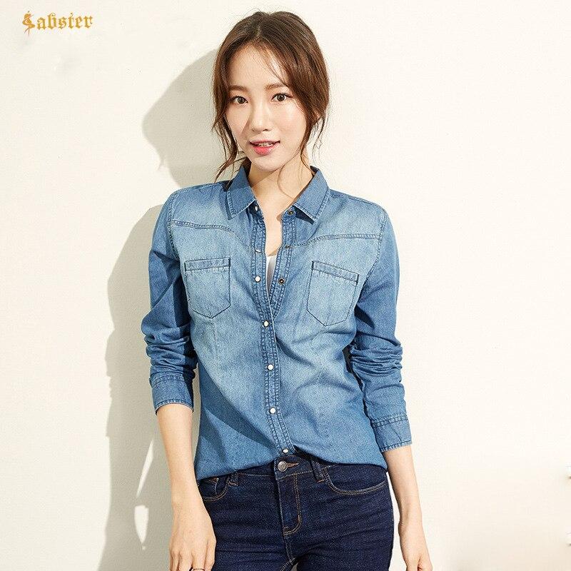 Collar Blusa Blue Otoño Camisa Mujeres Manga Y Denim Algodón Casual Mujer Abajo Dark Camisas Bolsillo Jeans Señora Primavera Larga De qErHEwO