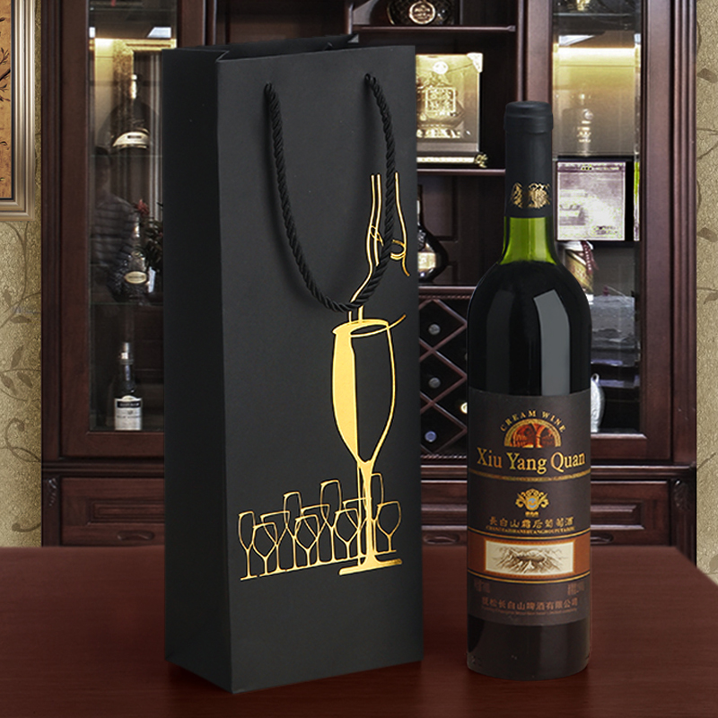 Black Paper Single Wine Bottle Carrier Ritzy High Quality Wine Grape Pokal Design Golden Logo Two Sides Oil Bottle Gift Bags