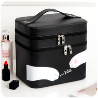 Travel Double Layer Cute Pink Cat Cosmetic Bag Makeup Tool Storage Bag Multifunctional Storage Package Toiletry