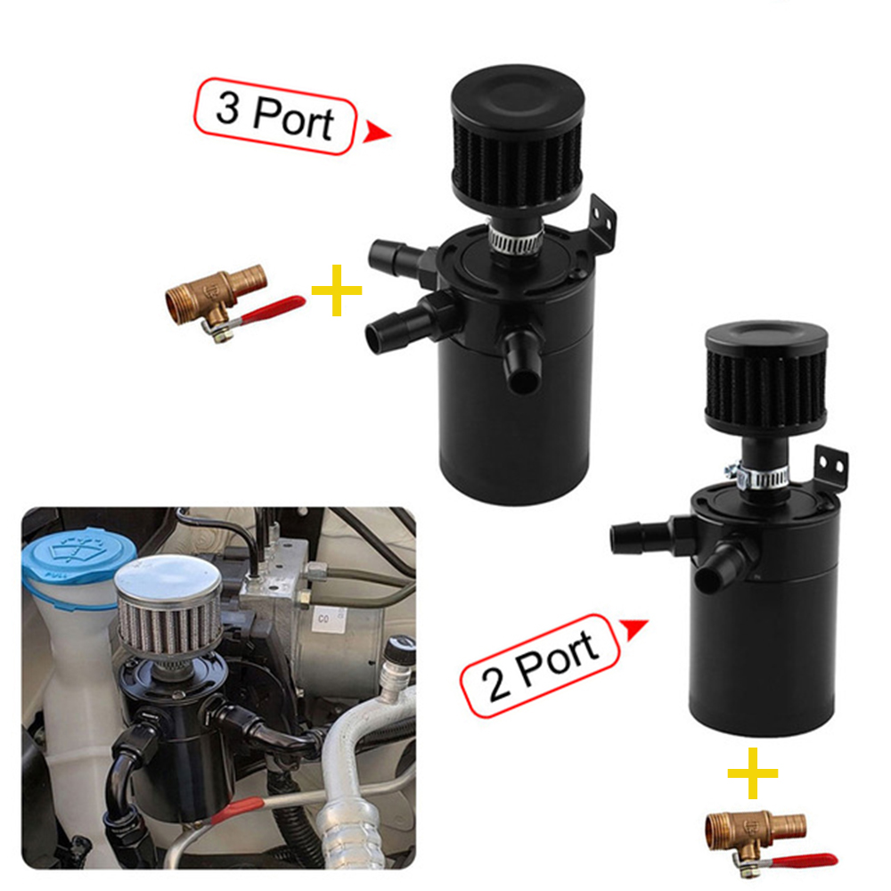 Oil Catch Can Kit 0.5L 500ML Universal Aluminum Oil Separator Catch Reservoir Tank Baffled with Breather Filter