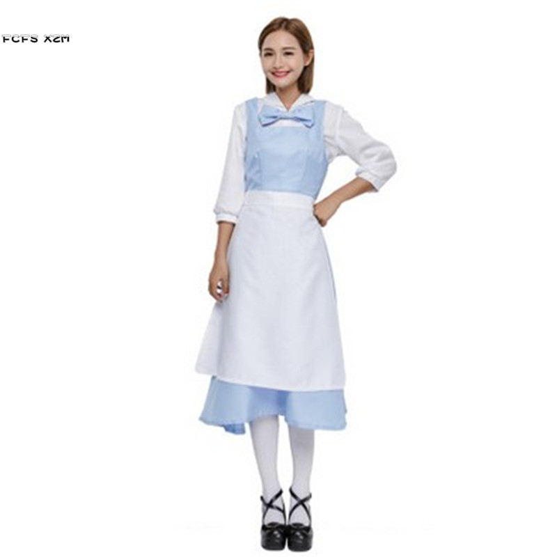 Light blue Halloween Maid Costume for Women Female housekeeper Cosplay Carnival Purim Masquerade Nightclub Role play party dress