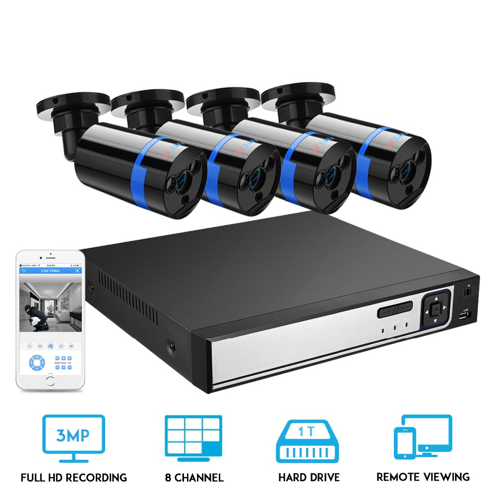 BESDER 8CH H.265 3.0MP POE NVR Kit CCTV System IP Camera Outdoor Video Security Surveillance Set Outdoor Waterproof 2TB HDD image