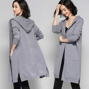 Image 2 - ארוך קרדיגן נשים סוודר חורף 2020 חדש מזדמן סתיו ארוך שרוול סרוג קימונו קרדיגן עם ברדס נשי גדול מעיל מעיל