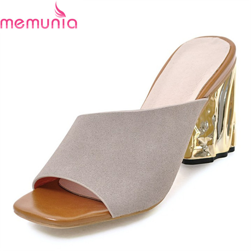 MEMUNIA <font><b>hot</b></font> <font><b>sale</b></font> <font><b>women</b></font> high heels sandals pu+flock ladies <font><b>summer</b></font> shoes fashion party fish mouth heels shoes big size 34-43 image
