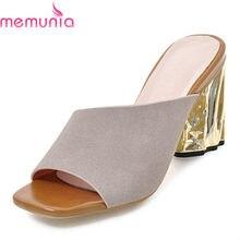 5ba999646 MEMUNIA venda quente mulheres sandálias de salto alto pu + flock senhoras verão  sapatos de festa