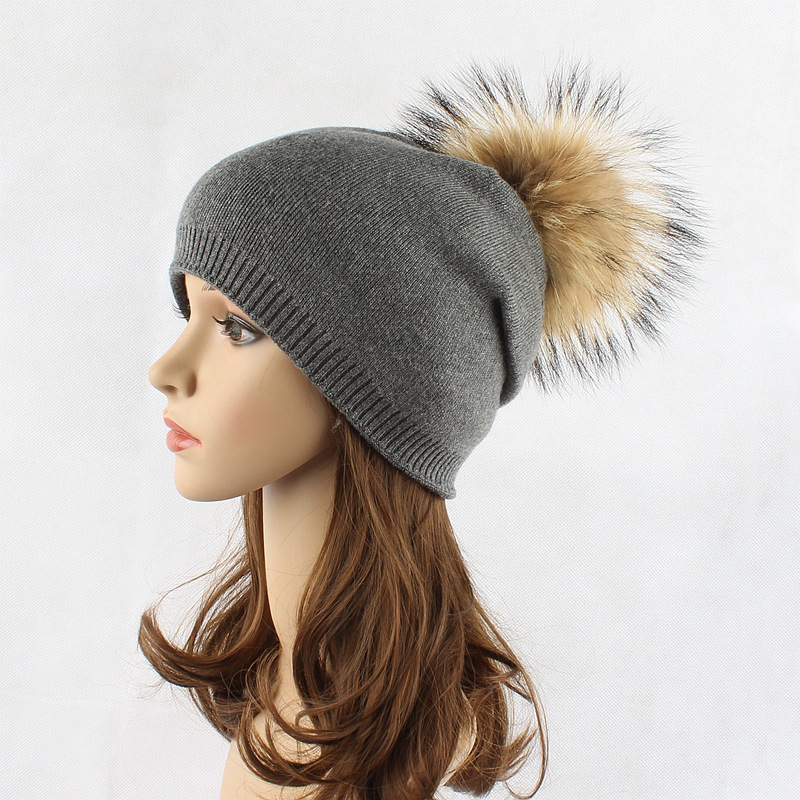Autumn winter beanies hat unisex knitted wool Skullies casual cap with real raccoon fox fur pompom solid colors ski gorros cap favourite 1602 1f