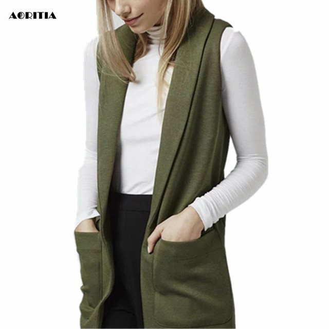 2017 Women Wholesale Army Green Long Vest Sleeveless Jacket Cardigan Chalecos Mujer