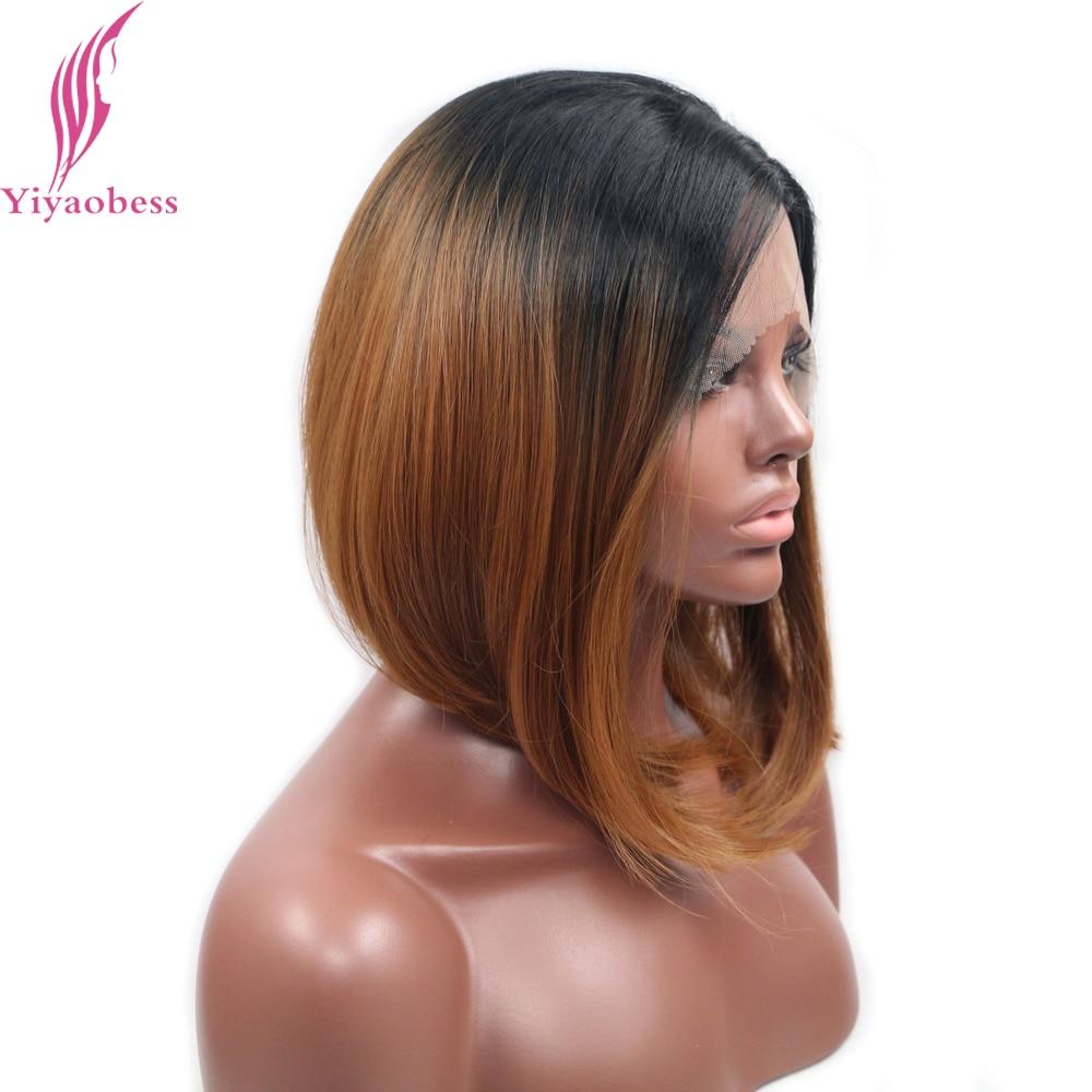 Yiyaobess 14 tums Värmebeständig Kort Bob Paryk För Kvinnor Rak - Syntetiskt hår - Foto 2