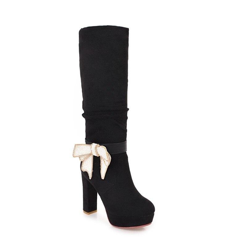 Chaussures Automne rouge Talons Haute Bottes Noir Genou Femmes Nouveau Salu Pour Qualité Hiver Tricot 7gIbf6Yyv