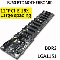 B250 Straight Plug Motherboard DDR3 Sockets 12 x PCI E X16 Card Sot Integrated CPU LGA 1151 SATA3.0 BTC Motherboard