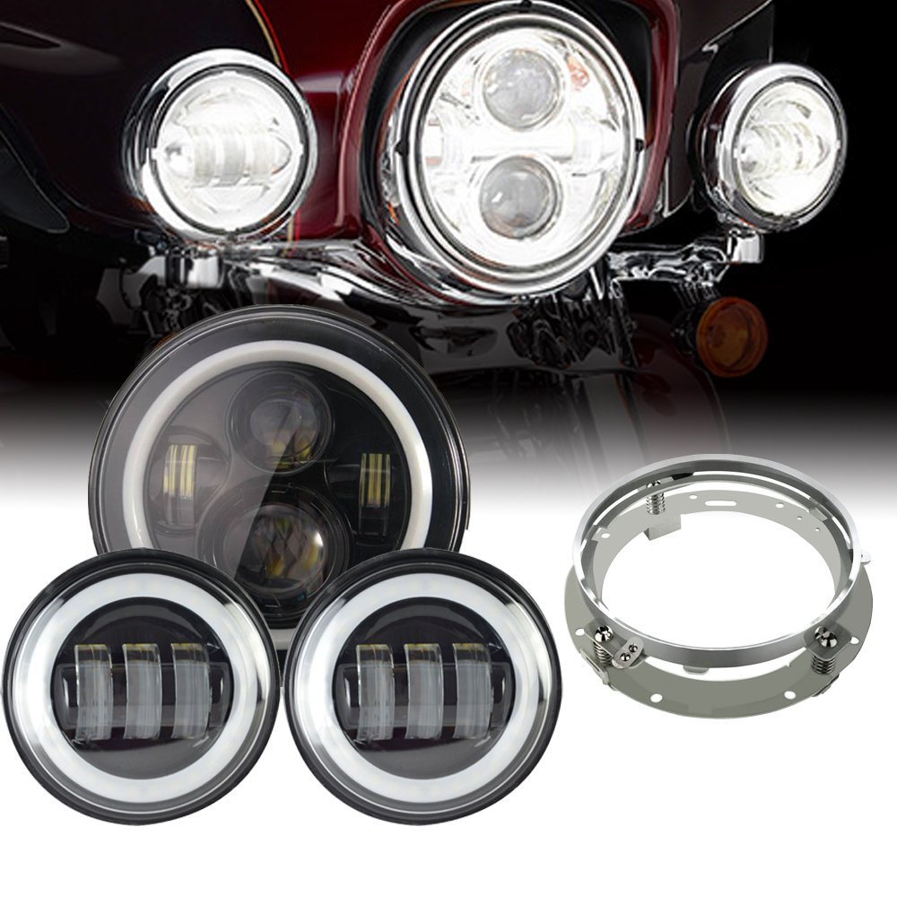 7inch LED Headlight white DRL+ 4.5inch Halo Fog Lights , Adapter Ring for Harley Touring Electra Glide Road King Street Glide 7 inch led headlight motorbike suit 7headlight monting ring fog lights for harley davidson electra glide road king street glide