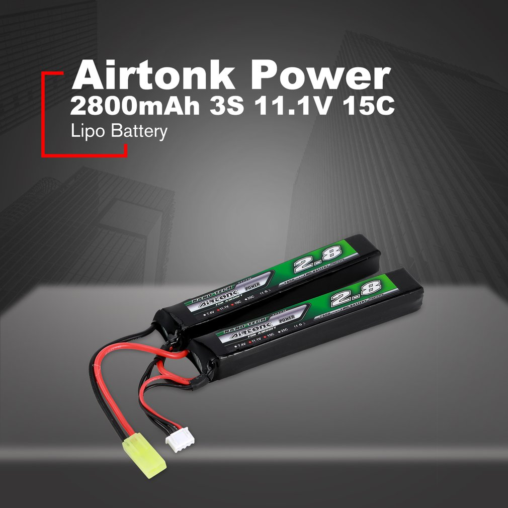 New Airtonk Power 7.4V <font><b>2800mAh</b></font> 15C <font><b>2S</b></font> /3S 11.1V 15CLipo Battery Mini Tamiya Plug Rechargeable Double Cell for Model Gun Toy image