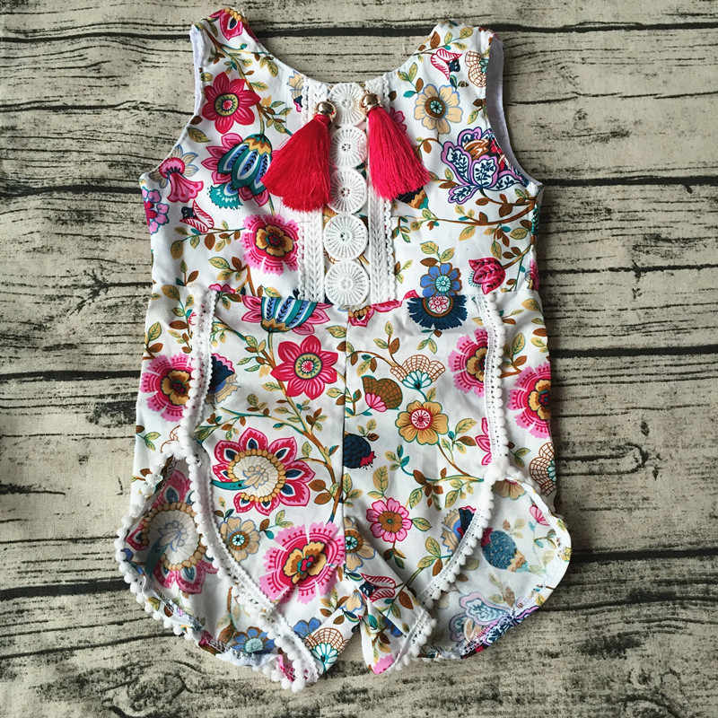 ddd1e8e43cb1 Detail Feedback Questions about 2018 new Baby Girl Pretty summer Romper  Flower Pom Pom lace Romper Child Rosy Baby Girl baby floral romper baby  boutique ...