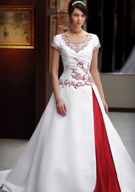 Vintage Satin Ivory And Red Two Toned Modest Colorful Wedding Dresses 2016 Cap Sleeves With Color