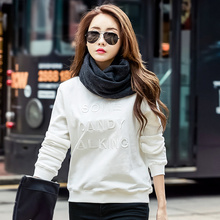 T Shirt Autumn Winter Womens T-shirt Cotton Embroidery Round Neck Plus Size Clothing