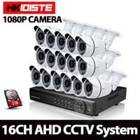 HKIXDISTE 16CH 1080P AHD DVR CCTV System Kit 16CH AHD DVR Recorder IR 40M Outdoor Bullet