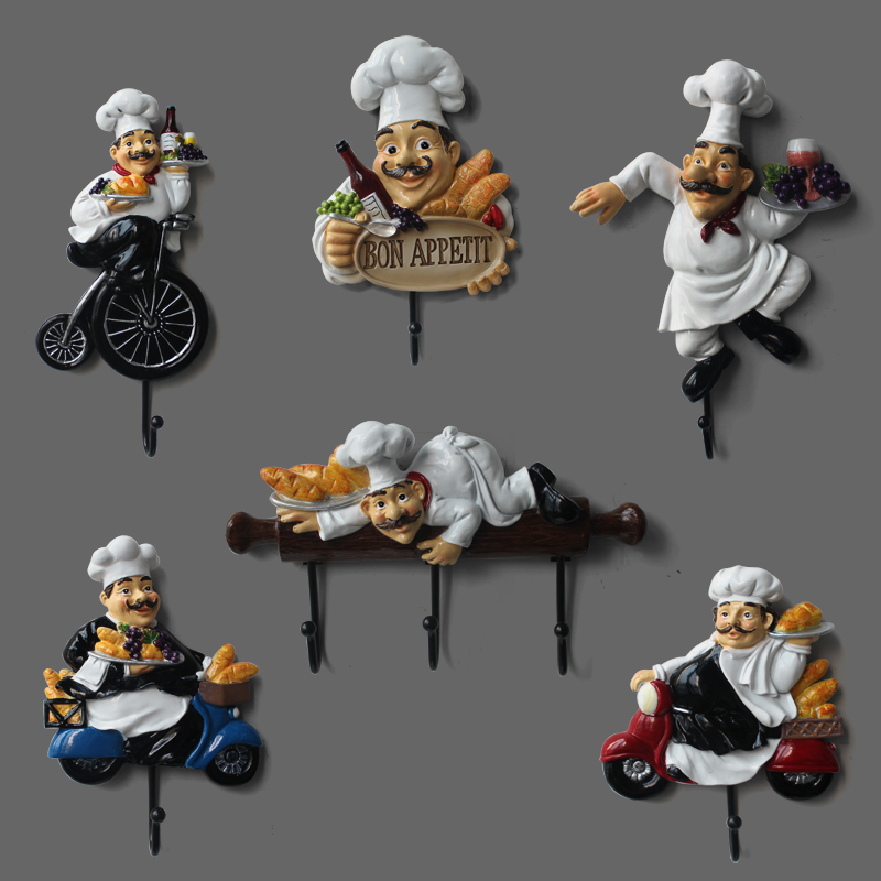 Kitchen Restaurant Bakery Ornament decorations chef Resin craft work Wall decoration hooks Home Decorations