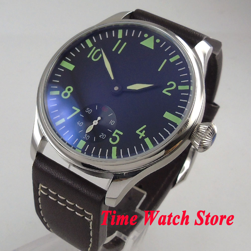 44mm Parnis mens watch black sterile dial green marks 6498 mechanical hand winding movement wrist watch men 102844mm Parnis mens watch black sterile dial green marks 6498 mechanical hand winding movement wrist watch men 1028