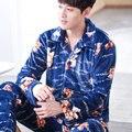 Мужская Пижама Устанавливает Зимняя Мода С Длинным Рукавом Кардиган Мужчины Фланелевую Пижаму Костюмы Для Мужчин Пижамы Пижамы Loungewear L-3XL