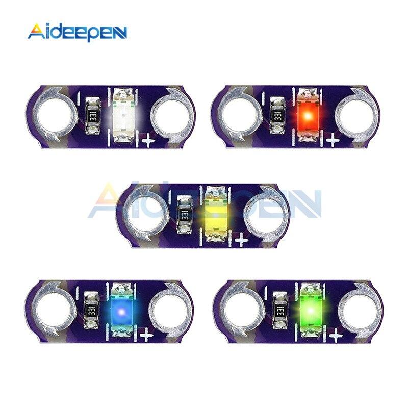 5 шт./лот DC 3 в-5 в 40mA мини LilyPad светодиодный модуль желтый/зеленый/белый/синий/красный цвет светильник Модуль фиолетовый доска для Arduino DIY Kit