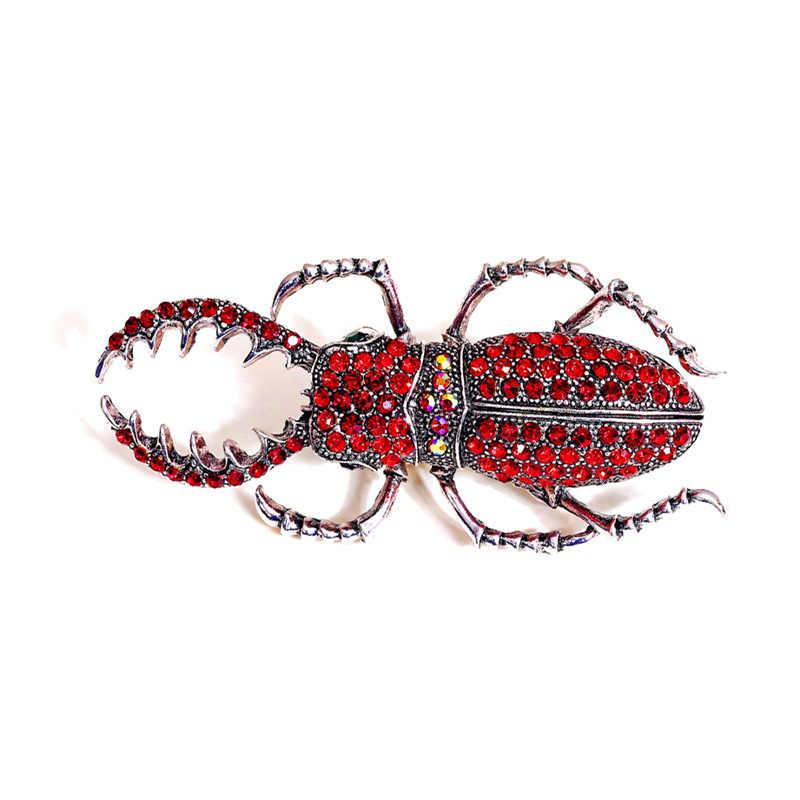 Kingdeng Spilla di Lusso Rosso Beetle Giappone Coreano Gioelleria Raffinata E Alla Moda Accessori Unisex Smalto Spille Insetto Del Rhinestone Delle Donne Del Partito Regali