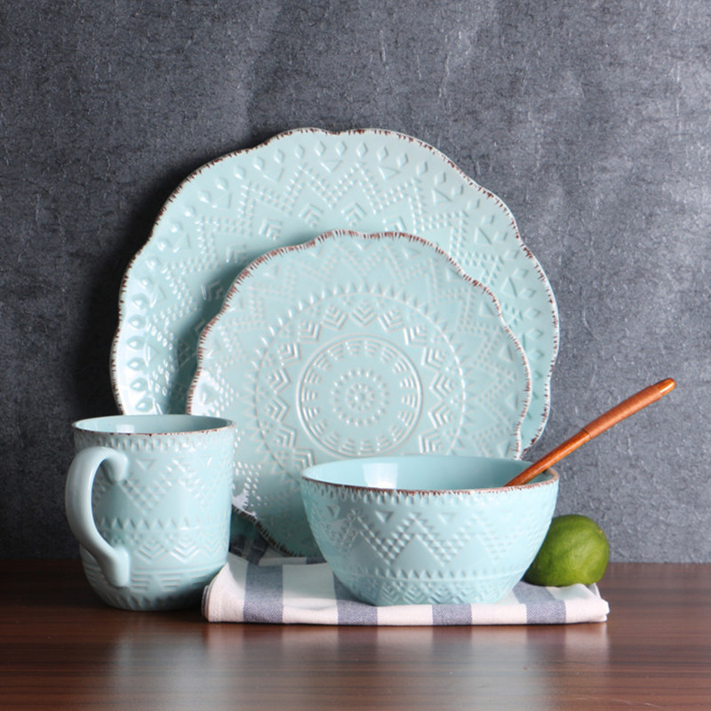Retro European style embossed design baby blue dinnerware set steak plate bowl cup 1 set Christmas gift-in Dinnerware Sets from Home u0026 Garden on ... & Retro European style embossed design baby blue dinnerware set steak ...