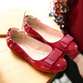 Slip on Women Soft Patent Leather Bowtie Solid Ballet Flats Spring Autumn Mummy Shoes