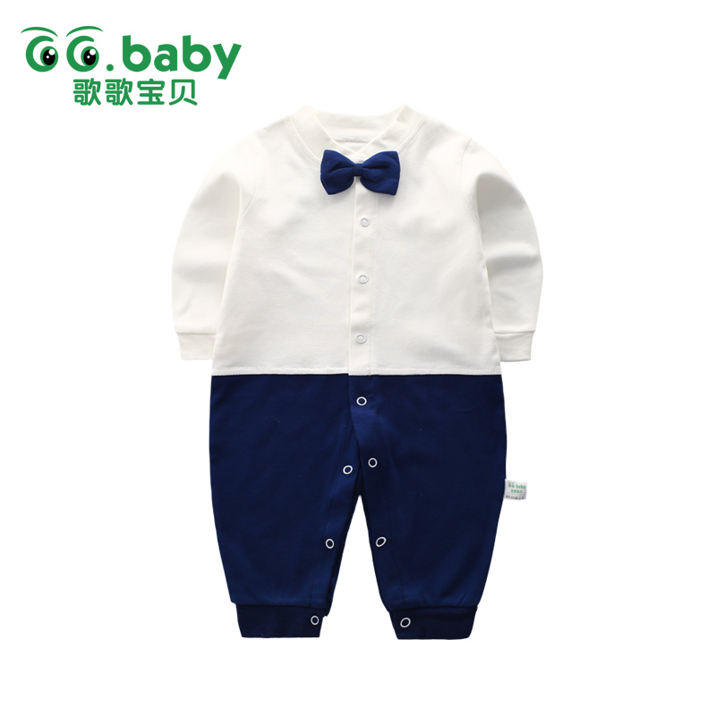 цена на New Gentleman Bow Tie Baby Boy Rompers For Newborns Clothes Cotton Baby Boys Romper Jumpsuit Overalls Toddlers Pajamas Jumpsuits