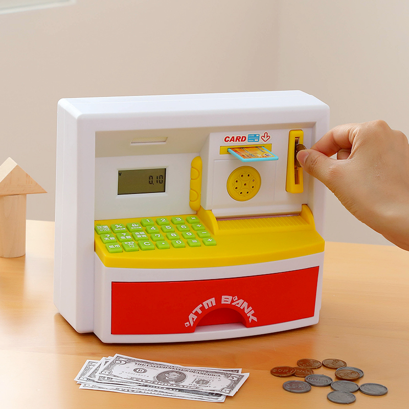 Piggy Bank Mini ATM Money Box Safety Electronic Password Chewing Coins Cash Deposit Machine Saving Box for Children Kids Gift