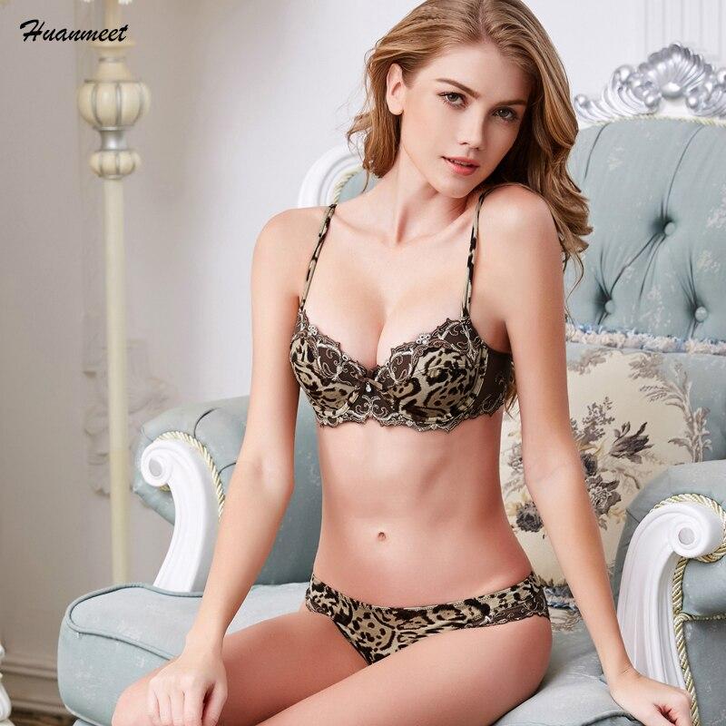Thin Women Bra Set Sexy Temptation Leopard Print Underwear Fashion Sexy Lingerie Adjustable Push up Bra Back Closure Bra WS100