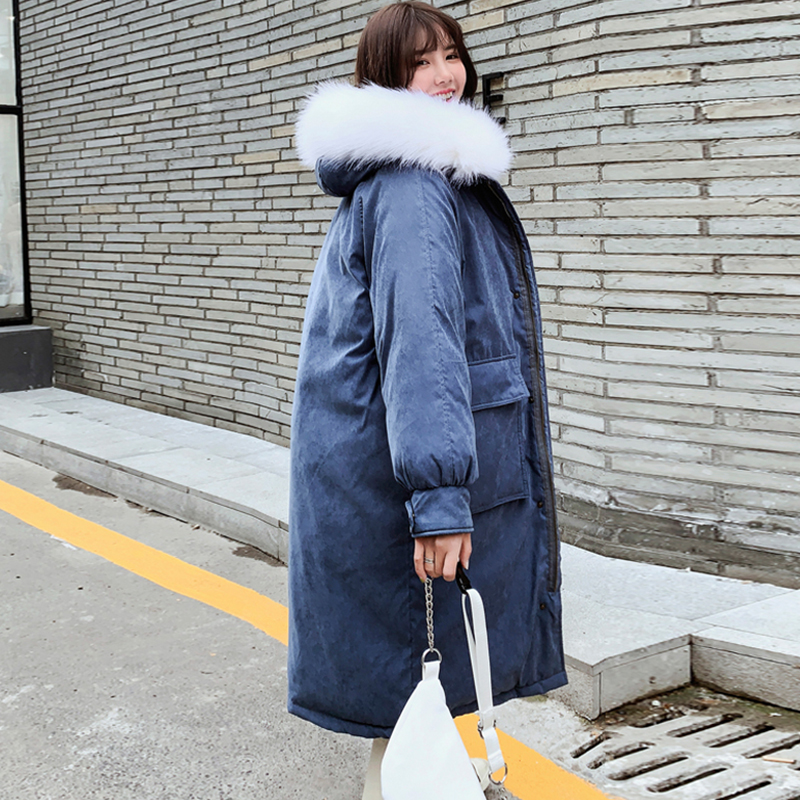 Korean Style 2019 Women Winter Jacket With Fur Collar Hooded X-long High Quality Female Coat Warm Padded Outwear Winter   Parka