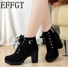 EFFGT 2017 New Autumn Winter Women Boots High Quality Solid Lace-up European Ladies Leather Fashion Boots Free Shipping