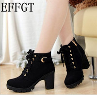 New Autumn Winter Women Boots High Quality Solid Lace Up European Ladies PU Leather Fashion Boots