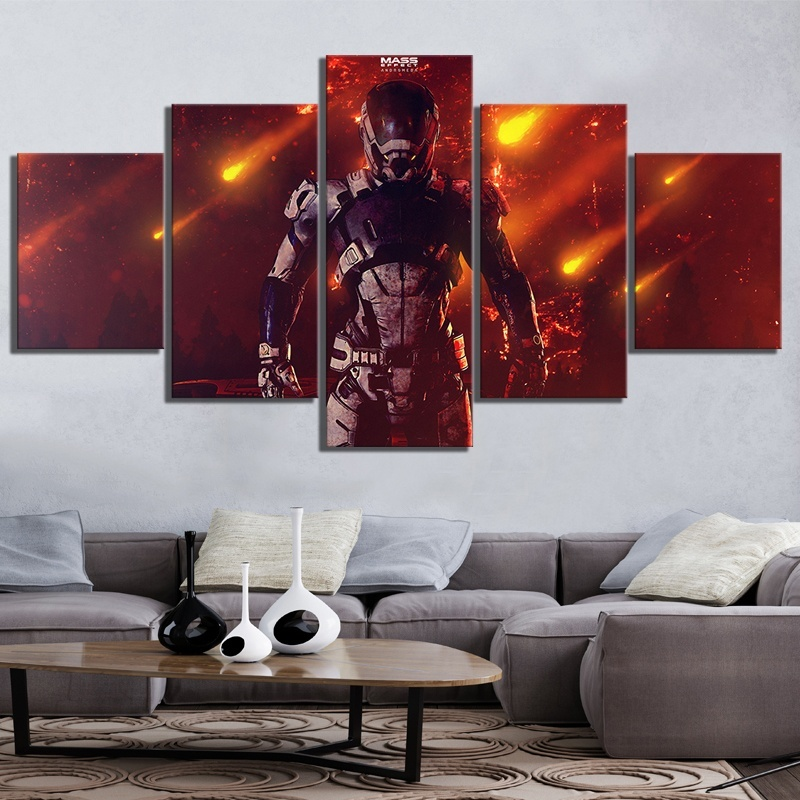 5 Piece Canvas Paintings Mass Effect Andromeda RPG Game Poster for Home Decor Fantasy Wall Art image