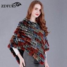 ZDFURS * Новый многоцветный горячей продажи треугольник кроличий мех Вязаная Шаль плащ верхняя одежда меховая накидка ромб пуловер ZDKR-165001-B