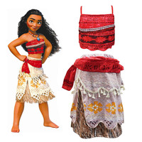 2018 Moana Princess Dresses For Girls Adventure Clothes Kids Birthday Party Cosplay Costumes Children Vaiana Dress