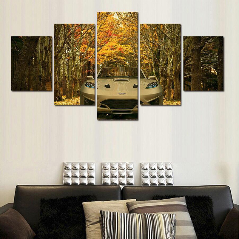 (Unframed) Maple Leaves Of the Forest White Sports Car Oil Painting Wall Art Home Decoration Canvas Paintings For Living Room