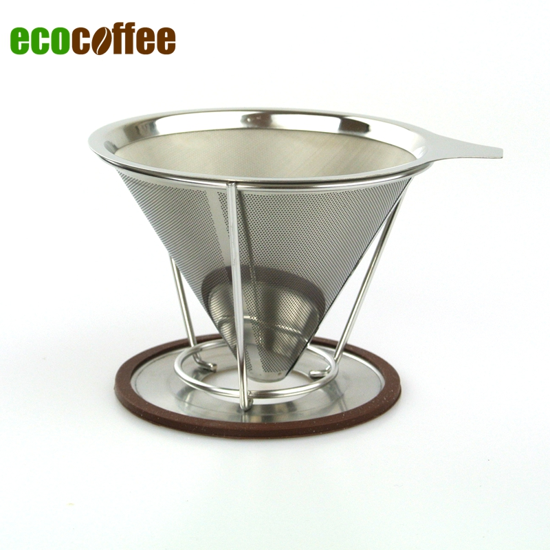 New Arrival Free Shipping Coffee <font><b>Strainers</b></font> <font><b>Portable</b></font> <font><b>stainless</b></font> <font><b>steel</b></font> coffee filters / reusable V-type filter <font><b>cup</b></font>