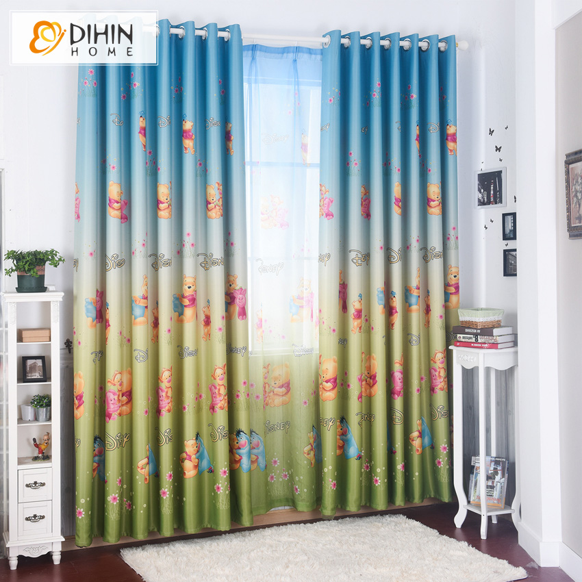 Dihin Home Cartoon Bear Printed Blackout Curtains For Living Room Curtains For Children Room