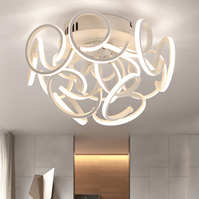 Modern Simple Aluminum Led Ceiling Chandeliers Luminaria Lustre Acrylic Bedroom Dimmable Led Chandelier Lighting Lights Fixtures