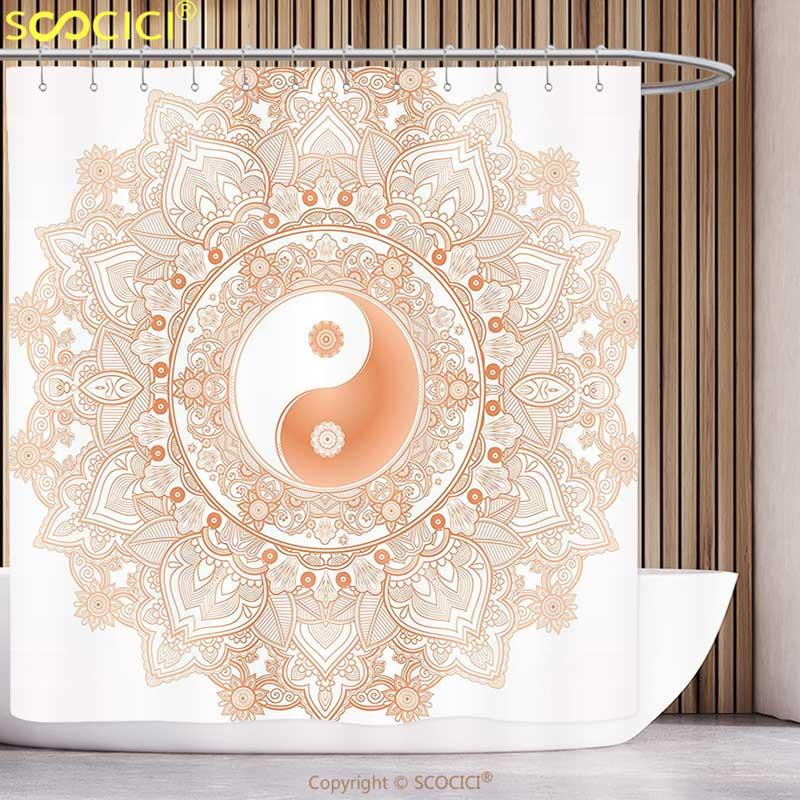 Cool Shower Curtain Ying Yang Decor Collection Circle Yin Yang Mandala Symbol Unity and Peace in Opposites Retro Ethnic Boho circle