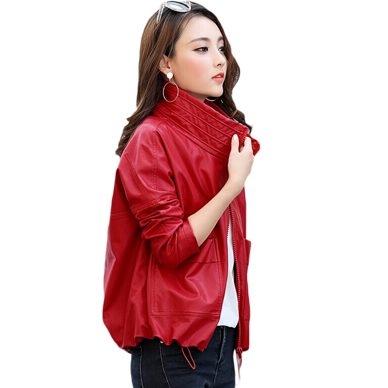 2018 Spring New Fashion Fall Women Short PU Leather Motorcycle   Jacket   Coat Zipper Red Black Ladies Loose   Basic     Jacket   XH1021