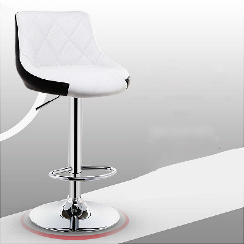 Modern Simple Bar Chair Lifted Rotated Coffee Shop Stool Multi-function Cashier Seat With Footrest Household Leisure PU Stool