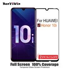 2 ADET 100% Orijinal Tam Kapak Temperli Cam Için Huawei Onur 10i 10 i Ekran Koruyucu 9 H Koruyucu cam HRY LX1T Film