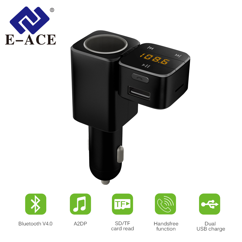 E-ACE FM Transmitter Aux Modulator Bluetooth Handsfree Car Kit Car Audio MP3 Player With Cigarette Lighter Dual USB Car Charger