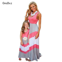 Low Price Summer Family Matching Outfits Fashion Striped Mother Daughter Dresses Mommy Me Ankle Length Family