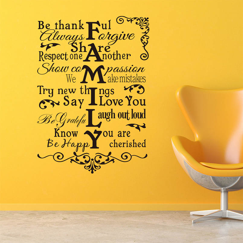 Family Rules Wall Decals Removable English Alphabet Living Room Home ...