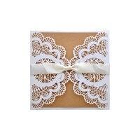 10 unids flor hueco corte láser invitaciones de boda tarjeta personalizada con la cinta sobres y Sellantes decoración de la boda