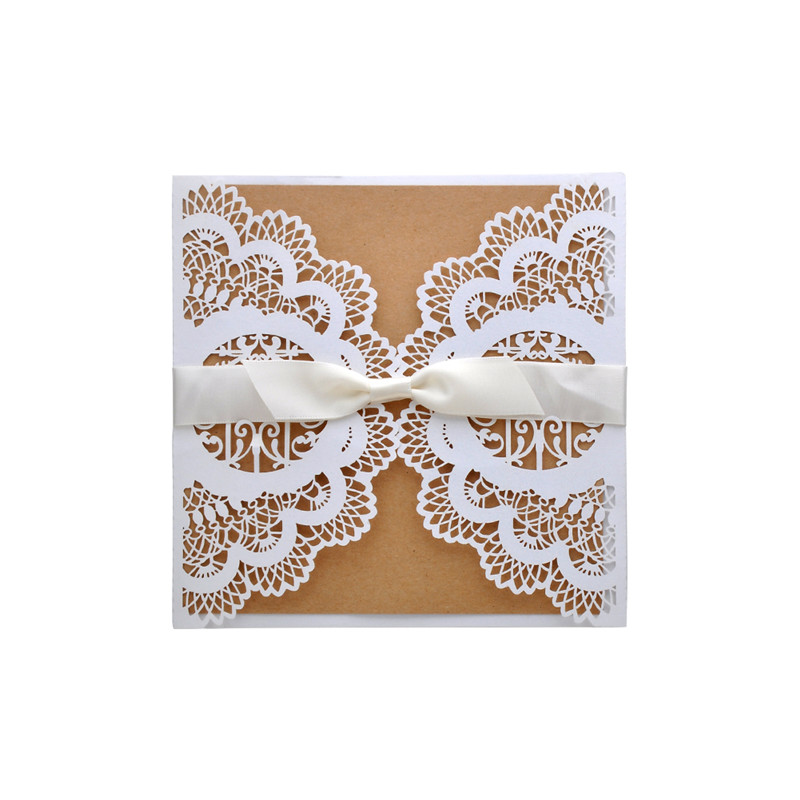 10pcs flower Hollow Laser Cut Wedding Invitations Card Personalized Custom with Ribbon Free Envelope & Seals wedding decoration 1 design laser cut white elegant pattern west cowboy style vintage wedding invitations card kit blank paper printing invitation