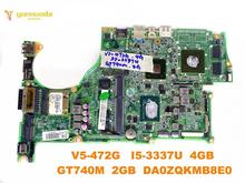 Original for ACER V5-472G V5-472 laptop motherboard V5-472G I5-3337U 4GB GT740M 2GB DA0ZQKMB8E0 tested good free shipping